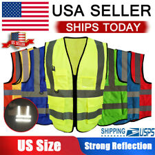 Hi Vis Reflective Safety Vest High Visibility Mesh Workwear Security Jacket Us