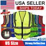 Hi Vis Reflective Safety Vest High Visibility Mesh Workwear Security Jacket US