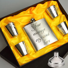 6oz Personalised Engraved Hip Flask Whisky Holder Gift Box & Drink Cups + Funnel