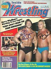 eb1475 Ricky Steamboat Lex Luger Barry Windham signed wrestling Magazine w/Coa