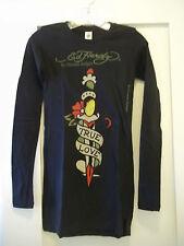 ED HARDY Womens Black TRUE LOVE Long Sleeve T-Shirt Size XS NEW w/Tags NWT