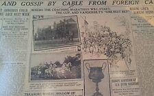 JUNE 6, 1909 NEWSPAPER PAGE #J5395- ALFRED VANDERBILT HORSE DRAWN COACH
