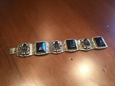 & Black Stone Panel Bracelet Unique Vintage Mexico Taxco Sterling Silver