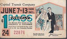 Trolly/Bus pass capital Transit Wash. DC--1936 Weading-----10