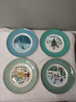 Lot of 4 AVON Vintage Christmas Plate Series 1975 1976 1978 1980 Holiday Plates