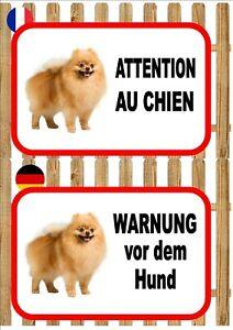 Pomeranian Beware of the Dog Sign ATTENTION AU CHIEN WARNUNG VOR DEM HUND