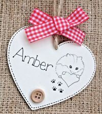Personalised Heart Pet Name Sign Plaque Hamster Heart Wooden Sign Gift ⭐