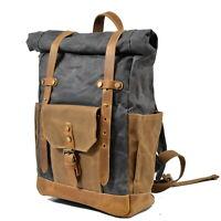 Retro Backpack Canvas & Leather Waterproof Backpack Travel Rucksack Sling Bag