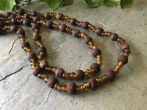 Ethnic Mens Wooden Long Bead Indian Tribal Necklace  46 48 and 42 inch Vintage