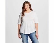 NWT Plus Size Who What Wear 100% Linen Top T-Shirt White Blush Black