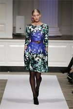 PF'12 ROMANTIC CLASSY Oscar De La Renta Water Lillier motif silk/cotton dress