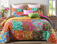 Reversible Quilted Cotton Patchwork Coverlet Bedspread 3pc Set Queen King MP015