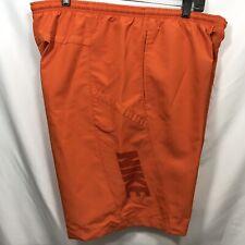 Nike Swim Trunks Men's Size XL Orange Shorts Draw String Elastic Waist Pockets