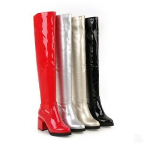 Women Size 34-43 Patent Leather Block Heel Over The Knee High Riding Boots Party