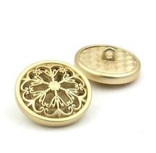 5PCS Gold Metal Hollow Out Flower Shank Buttons Coat Sewing Craft DIY 18 23 25MM
