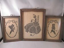 Antique Needlepoint Pictures Framed ART Lot of 3 Small