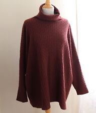 Eskandar O/S RUST 100% Cashmere Plush Luxury Cable Turtleneck Sweater