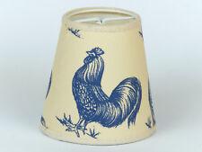 Aufstecklampenschirm mit ländlichem Motiv beige blau Klemmschirm Vogel Huhn E-14
