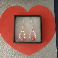 Superb Earrings with Pink Pearls And Morganite Gems 4.1 Gr. 4.5 CM. long + hooks