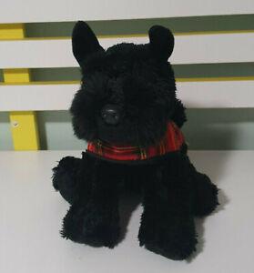 SCOTTIE DOG STUFFED ANIMAL KEEL TOYS BLACK WEARING PLAID JUMPER 20CM LONG