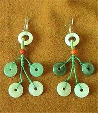 Pair Delicate 925 Sterling Silver Jadeite Jade Donut Circle Beaded Earrings