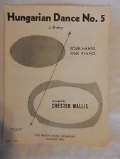 Hungarian Dance No. 5 J. Brahms Four Hands One-Piano Piano Sheet Music 1937