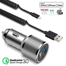For Apple iPhone XR - QC 3.0 5A Fast PD Car Charger iPhone Fast Charging Cable