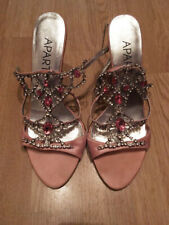 APART women's pink sandals rhinestone crystal party shoes vintage VTG size uk 5