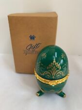 Porcelain Hinged Egg w/ quartz Clock Avon Collectible 2000 Emerald Green Holder
