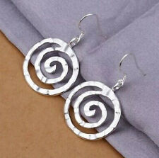 925 Sterling Silver Circle Swirl Round Spiral Dangle Drop Hammered Hook Earrings