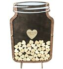 Personalized Wedding Guest Book Alternative Rustic Mason Jar wood heart drop box