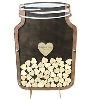 Personalized Wedding Guest Book Alternative Rustic Mason Jar wood heart drop box