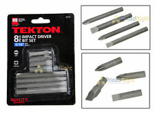 "8 Pc Piece Impact Driver Bit Set Screwdriver Kit Tekton 2915 5/16"" Hex Shaft"