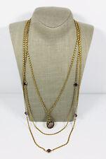 Vintage Goldette Necklace Gold Tone 3 Strand Carved Amethyst Glass Cameo Bezel