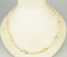 """FRESHWATER PEARL 21"""" NECKLACE WITH COIN PEARLS & 14K GOLD SPACER BEADS & CLASP"""