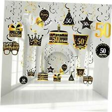 30 Pieces 50th Birthday Party Hanging Swirl Decorations, Black Golden Silver