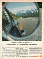 1971 Original Advertising' Air Canada Company Aerial The Canadian Rockies By Car