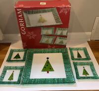 5 Piece Set Of Gorham Christmas Splendor Tree 1 platter 4 plates