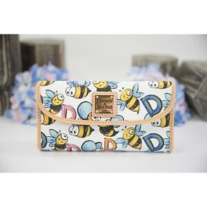 Dooney & Bourke White Bumblebee Coated Canvas Natural Leather Trifold Wallet NWT