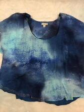 One World Live Let Live Woman 3X Plus Sheer Blouse Embellished Blue