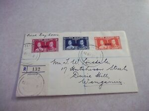 NIUE COOK ISLANDS CORONATION STAMPS ON REGISTERED COVER TO NEW ZEALAND