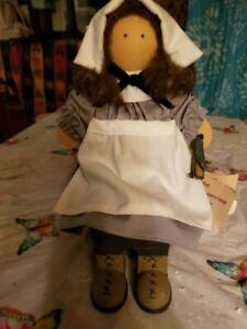 """Retired Lizzie High Wood Doll Thanksgiving """"2nd Pilgrim Sara Valentine"""" USA 1988"""