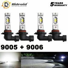 4 Bulbs 9005+9006 200W 16000LM Combo LED Headlight High Low Beam 6000K White Kit