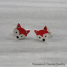 Red Fox Post Earrings - 925 Sterling Silver - Fox Earrings Studs NEW