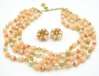 LISNER Pink Acrylic Faux Pearl Bead Beaded Choker Necklace Earring Set Vintage