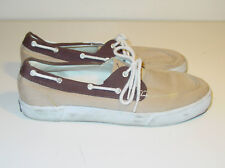 Polo RALPH LAUREN - Men's Lander Boat Shoes Gray Brown Canvas - Size 11.5  D