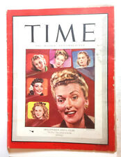 Jan 8, 1945 TIME Magazine- Anita Colby on Cover-News/Photos/Ad