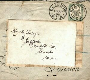 NYASALAND BCA Cover *Blantyre* Chinde 6d SG.46 FORWARDED Strand London 1898 W43c