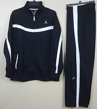 NIKE AIR JORDAN XI 11 WARM UP SUIT JACKET + PANTS BLACK WHITE NEW (SIZE XL / LG)