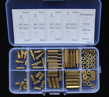 M3 Brass Spacer Standoff / Nut/Washer Assortment Kit 120412 88pcs New